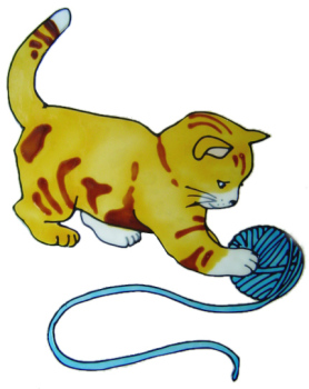 1104 - Kitten with wool - Handmade peelable window cling decoration