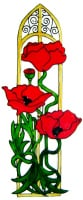 1105 - Elegant Poppy Frame handmade peelable window cling decoration