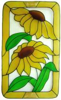 1113 - Two Sunflowers in Frame handmade peelable window cling decoration