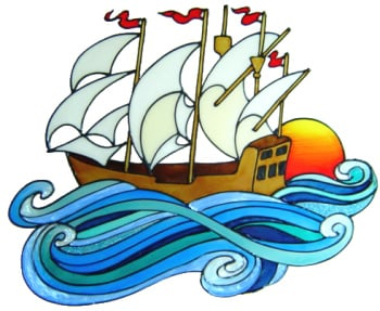 740 - Large Sailing Ship - Handmade peelable window cling decoration