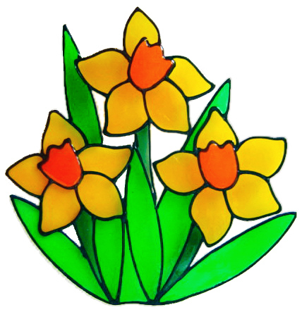 334 - Daffodils handmade peelable window cling decoration
