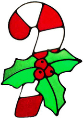 10 - Candy Cane handmade peelable window cling decoration