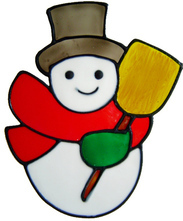 29 - Snowman handmade peelable christmas window cling decoration