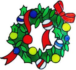 62 - Wreath - Handmade peelable static window cling Christmas decoration