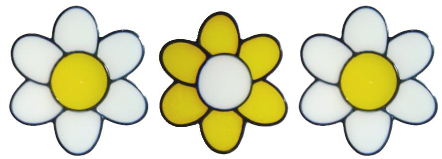 978 - Set of three flowers handmade peelable window cling decoration