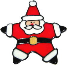 25 - Star Santa handmade peelable christmas window cling decoration