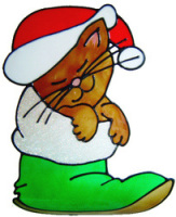 414 - Christmas Cat handmade peelable window cling decoration