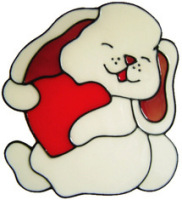 1 - Bunny & Heart handmade peelable window cling decoration