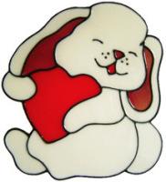 1 - Bunny & Heart handmade peelable window cling decoration