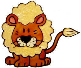 351 - Lion children's handmade peelable window cling decoration