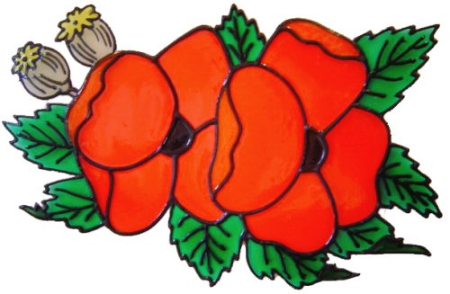 1155 - Double Poppy Swag handmade peelable window cling decoration