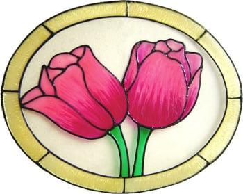 1162 - Tulip Oval handmade peelable window cling decoration