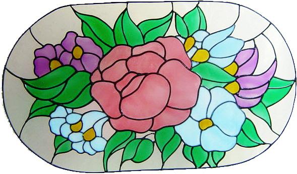 1170 - Large Flower Frame - Handmade peelable static window cling decoratio