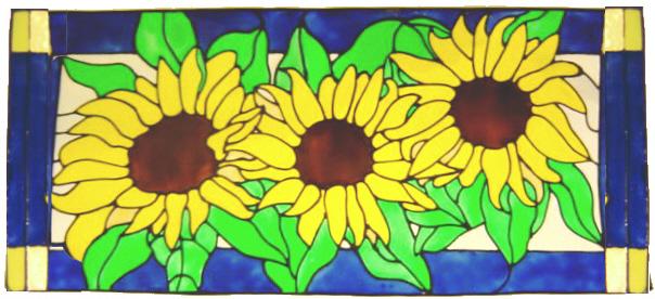 1017 -  Sunflower Panel handmade peelable window cling decoration