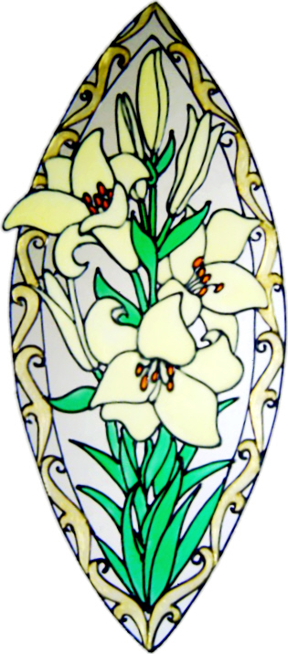 1172 - Elegant Lily Frame handmade peelable window cling decoration