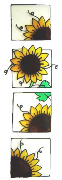 1173 -  Set of Four Sunflowers  handmade peelable window cling decoration