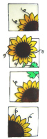 1173 -  Set of Four Sunflowers  handmade peelable window cling decoration