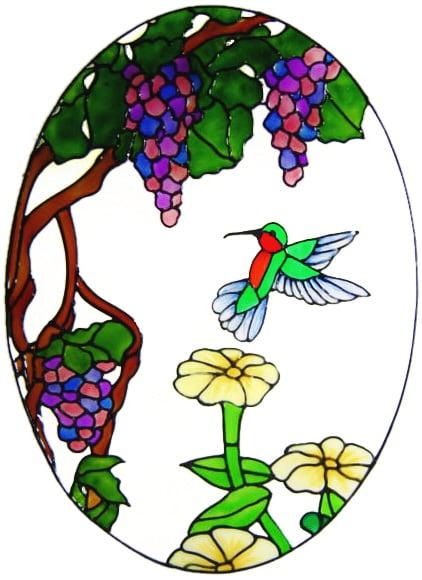 1015 - Hummingbird & Flower Oval handmade peelable window cling decoration