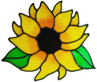 228 - Sunflower handmade peelable window cling decoration