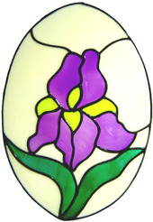 45 - Iris Oval Floral handmade peelable window cling decoration