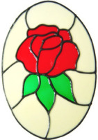 391 - Rose Oval handmade peelable floral window cling decoration