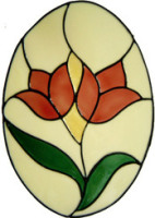 390 - Tulip Oval handmade peelable floral window cling decoration