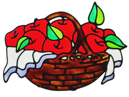 357 - Apple Basket handmade peelable window cling decoration