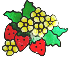 56 - Strawberries - Handmade peelable static window cling decoration