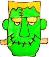 508 - Frankenstein's Monster - Handmade peelable static window cling decoration