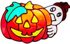 452 - Ghost and Pumpkin Halloween peelable window cling decoration