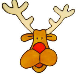 543 - Rudolf - Handmade peelable static window cling Christmas decoration