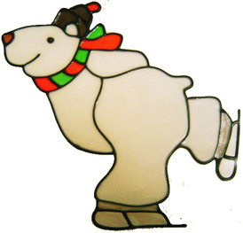 513 - Skating Polar Bear - Handmade peelable static window cling decoration