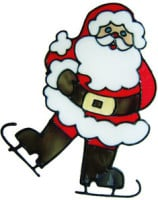 515 - Skating Santa - Handmade peelable static window cling decoration