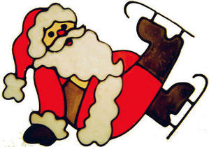 511 - Large Skating Santa - Handmade peelable static window cling decoratio