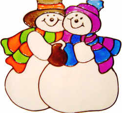 553 - Snowman Couple - Handmade peelable static window cling decoration