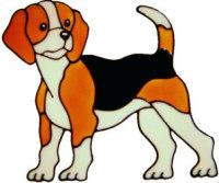 340 - Beagle dog handmade peelable window cling decoration