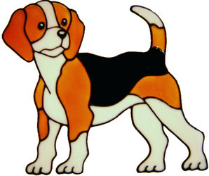 340 - Beagle dog handmade peelable window cling decoration