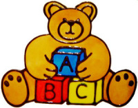549 - ABC Bear - Handmade peelable static window cling decoration
