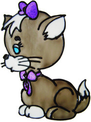 356 - Cute Cat handmade peelable window cling decoration