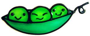 752 - Peas in a Pod - Handmade peelable window cling decoration