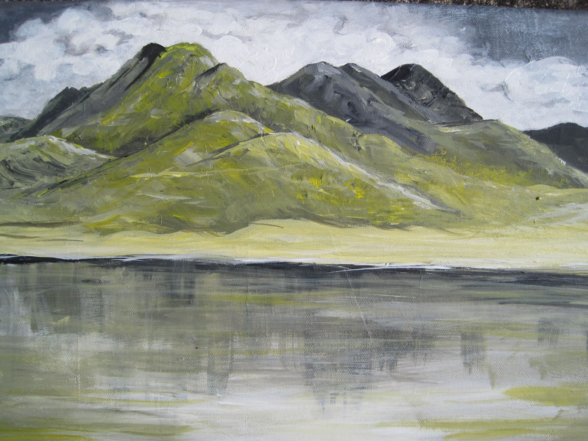 Lake and Mountains   ________________________________ acrylic on canvas  (30cm x 40cm)           £35