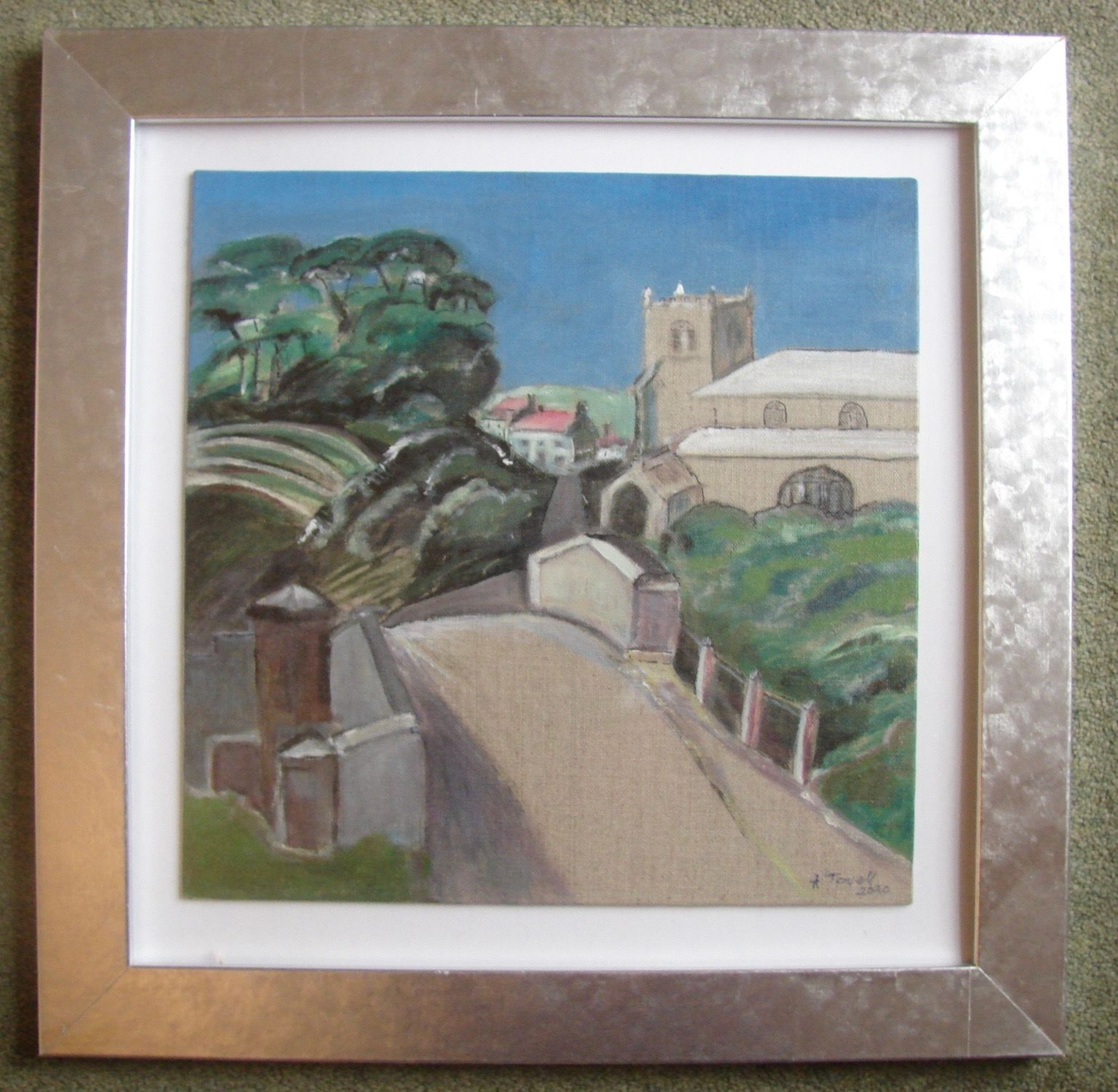 Road to Village with Church,  acrylic, silver frame  (42.5cm x 42.5cm)           £45