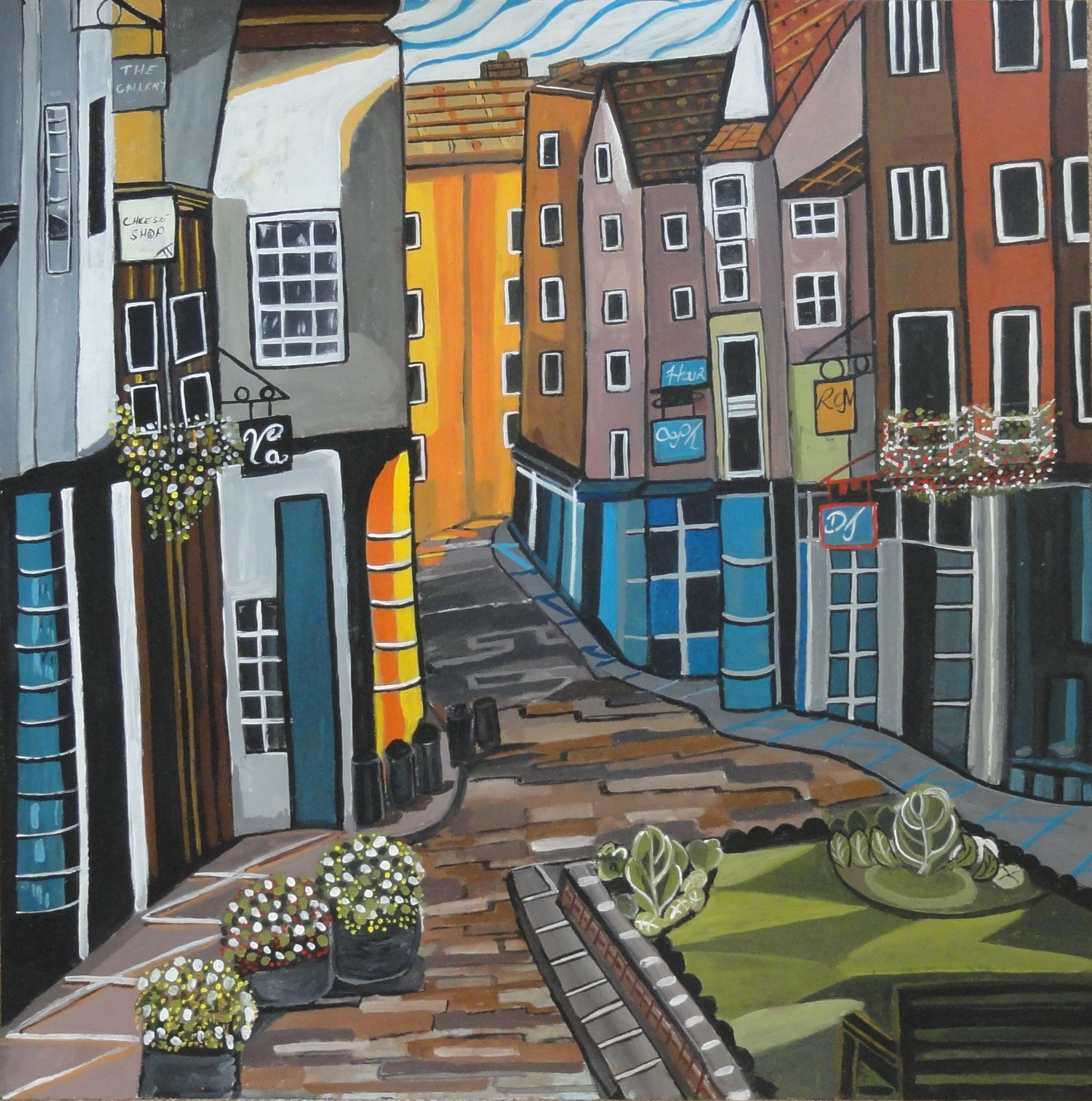 Veronica Taylor: Courtyard View (varnished goache on board, 75cm x 75cm)  £150