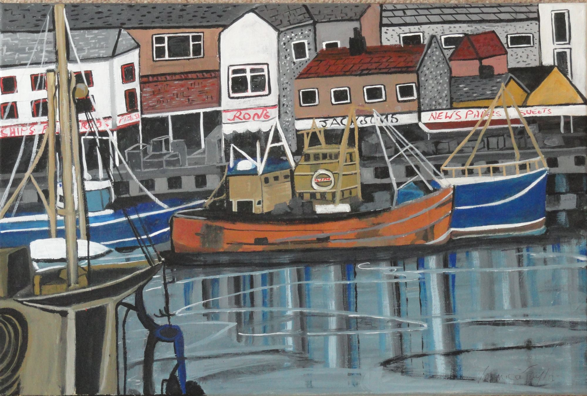 Veronica Taylor:   Fishing Boats at Harbour  ________________________________  varnished gouache on canvas  (60cm x 40cm)           £70