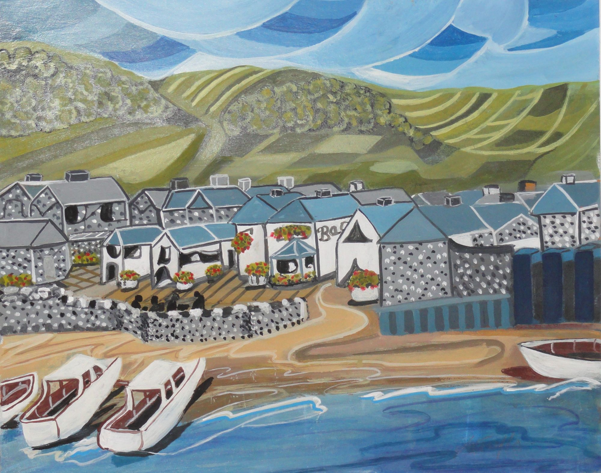 Veronica Taylor: Fishing Village  ________________________________  varnished gouache  (50cm x 51cm)                 £80