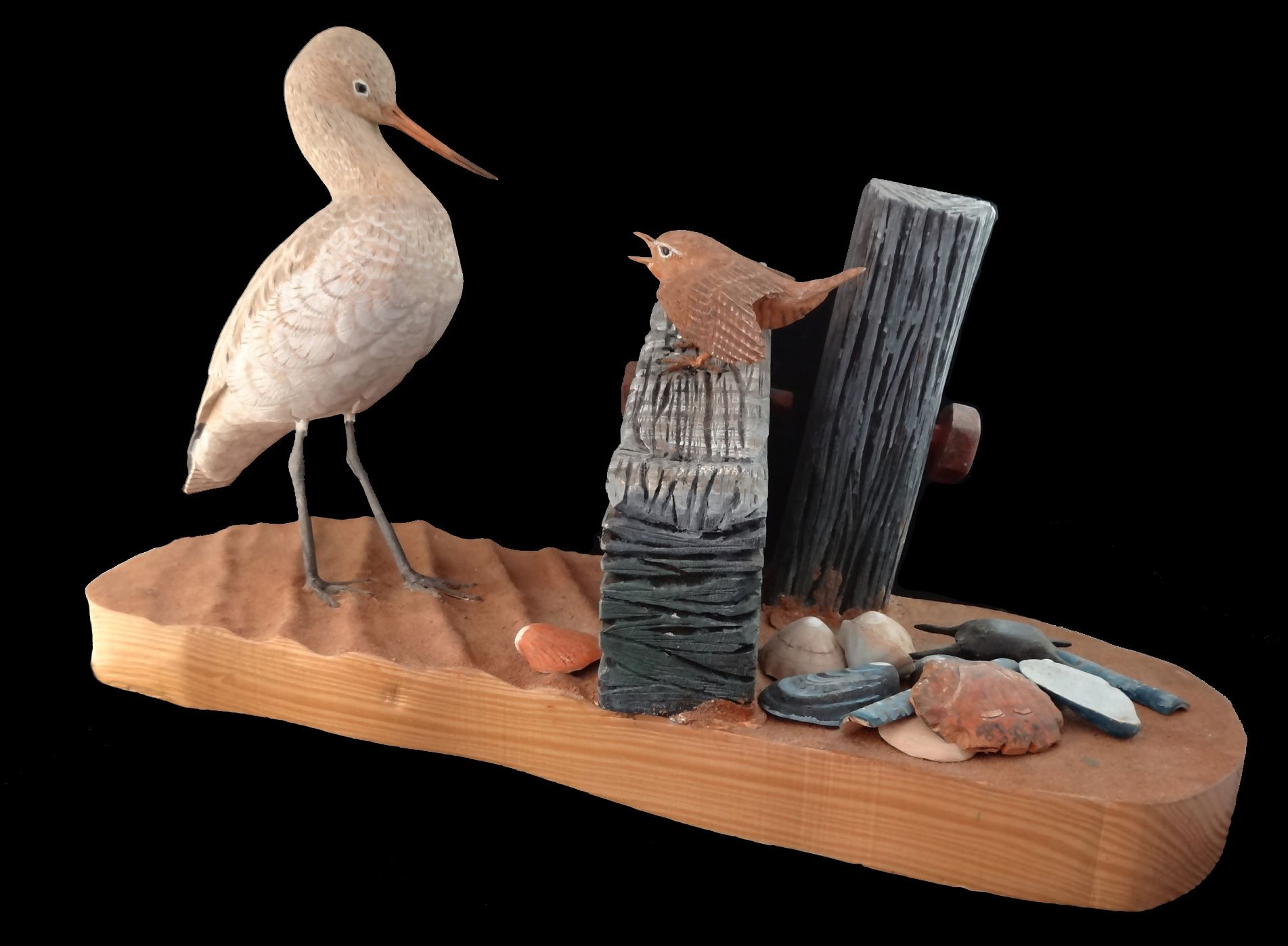 Get Off My Land   ________________________________ painted woodcarving including carved sand base with carved and painted shells  (30cm x 50cm x 22cm)           £350