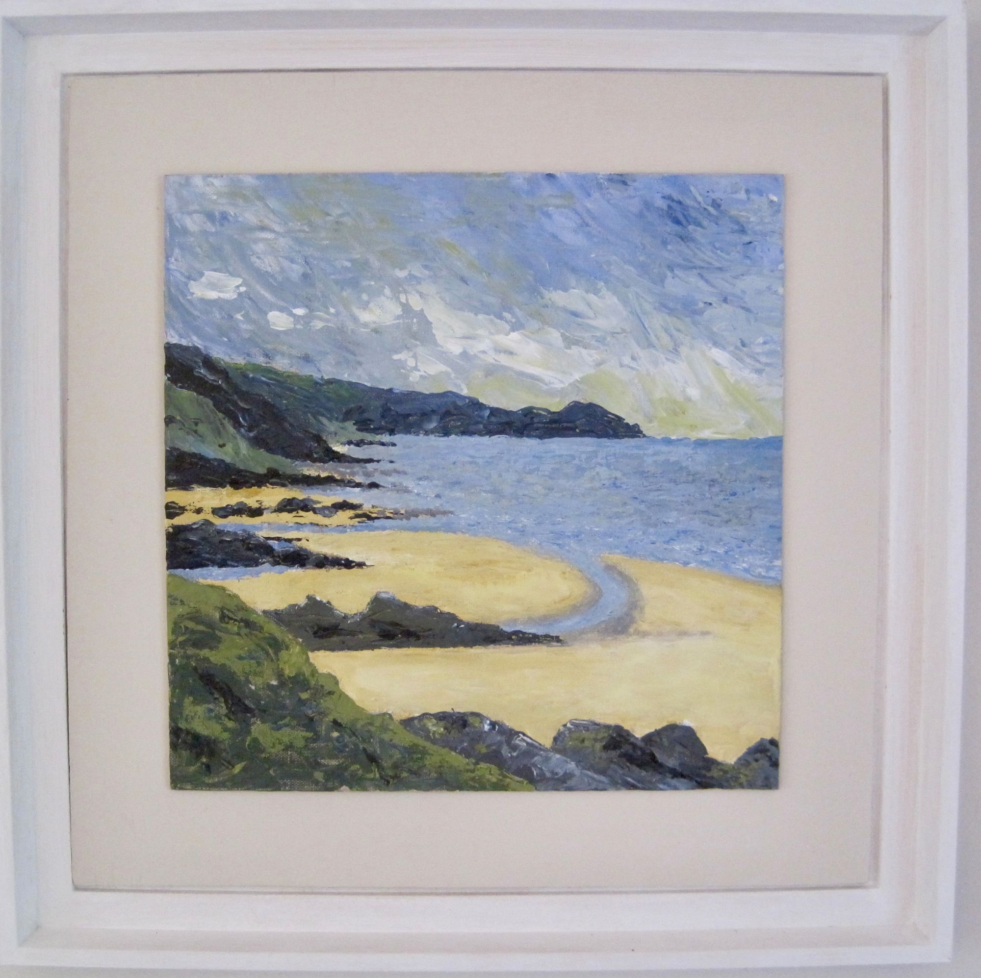 Cornish Beach Scene   ________________________________ acrylic on board, white wooden frame  (47cm x 47cm)           £50
