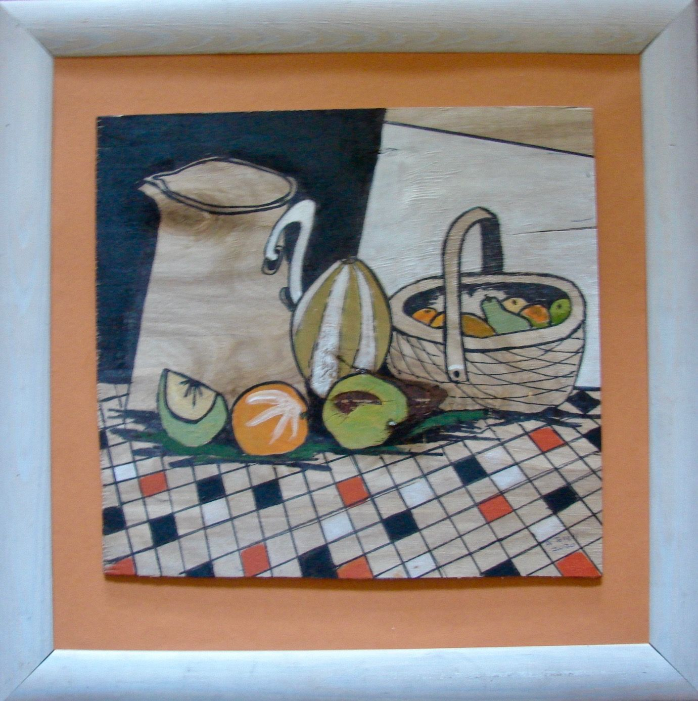 Angela Tovell:  Still Life with Fruit and Basket ________________________________ Mixed media on wooden panel, white frame (47cm x 47cm)           £38