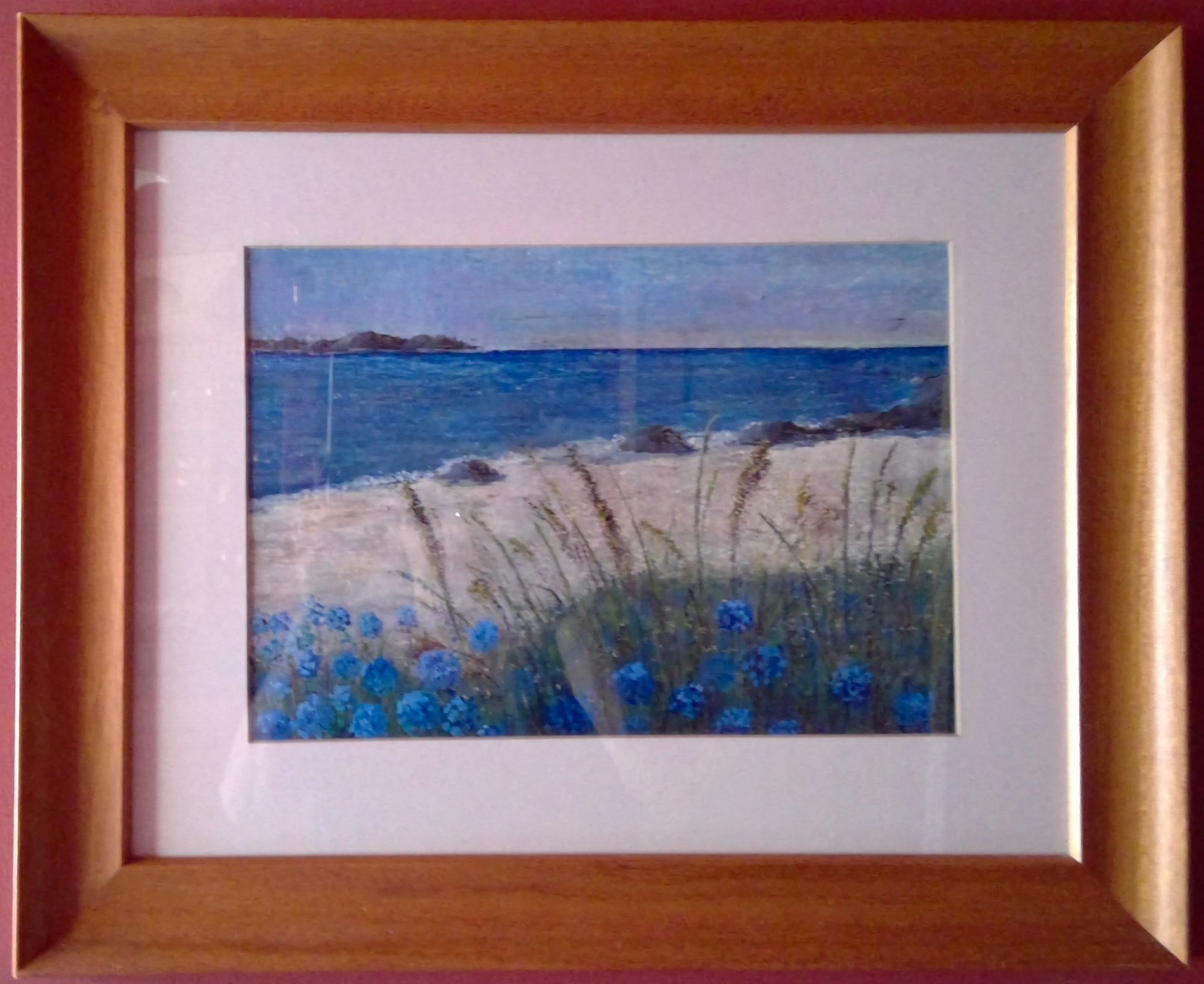 Tresco 2    ________________________________ oil pastel and acrylic ink on watercolour paper, wooden frame  (45cm x 55cm)           £45