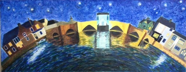 St Ives at Night   ________________________________ oils on stretched canvas  (30cm x 76cm)           £90
